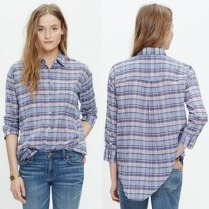 Madewell Shrunken Trapeze Purple Plaid Top S
